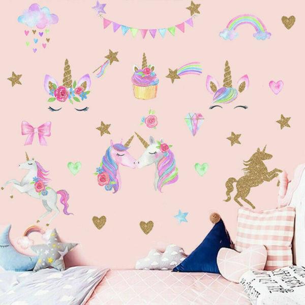 Glitter Unicorn Rainbow Sddtar Wall Sticker Cartoon Girls 57 / Shop Social Online Store