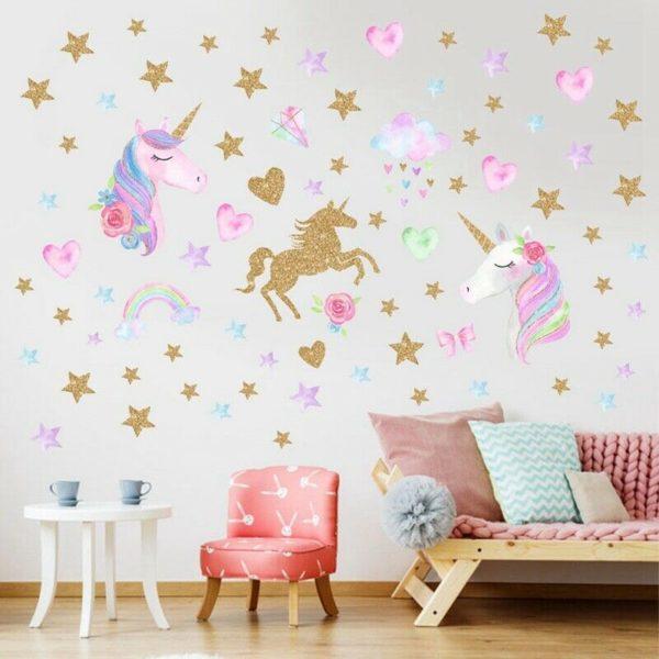 Glitter Unicorn Rainbow Star Wall Sticker Cartoon Girls / Shop Social Online Store