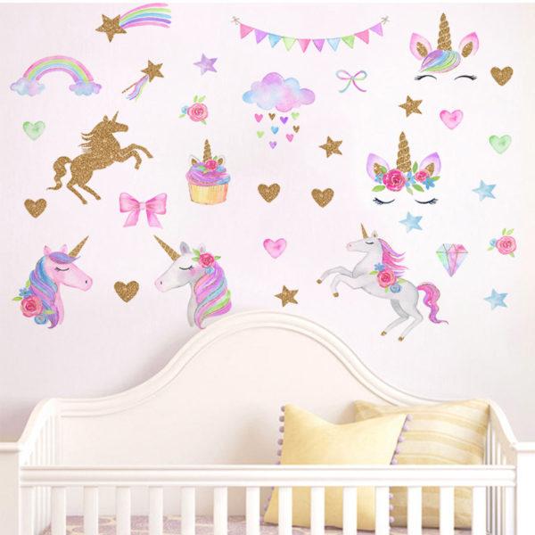 Glitter Unicorn Rainbow Star Wwwall Sticker Cartoon Girls / Shop Social Online Store
