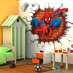 wall decals for teen girls volleyball 3D Spider man kids room decor Wall sticker boy gift wall decals Nursery Mural 0 / Shop Social Online Store