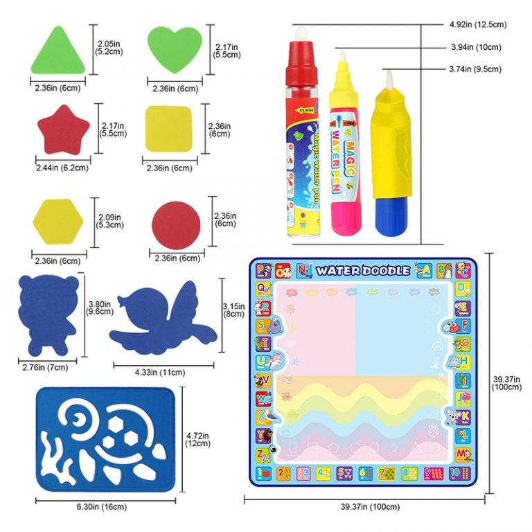 Coolplay 100x100cm Magic Water Drawing Mat Doodle Mat 4 Drawing Pens 1 Stamps Set Painting Board 1 / Shop Social Online Store