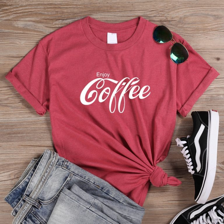 ONSEME Female T Shirt Enjoy Coffee Letter Print T Shirts Women s Streetwear Basic Cotton Tees 1 / Shop Social Online Store
