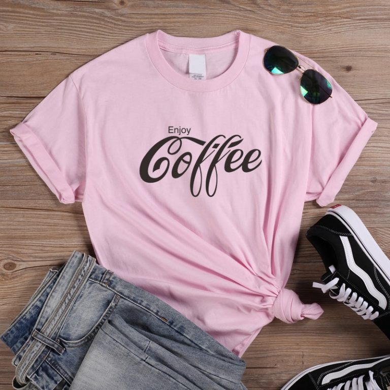 ONSEME Female T Shirt Enjoy Coffee Letter Print T Shirts Women s Streetwear Basic Cotton Tees 2 / Shop Social Online Store