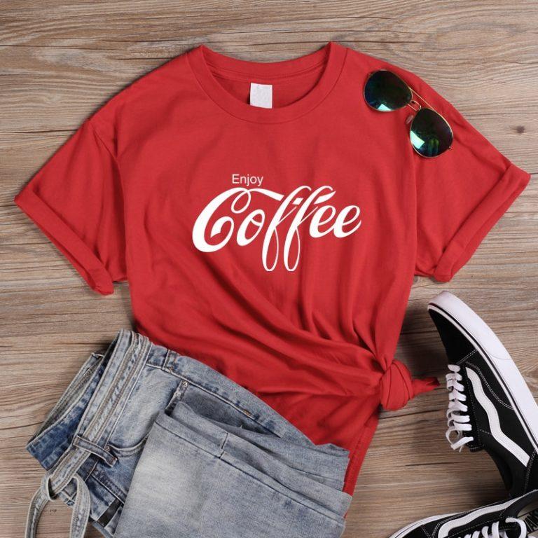 ONSEME Female T Shirt Enjoy Coffee Letter Print T Shirts Women s Streetwear Basic Cotton Tees / Shop Social Online Store