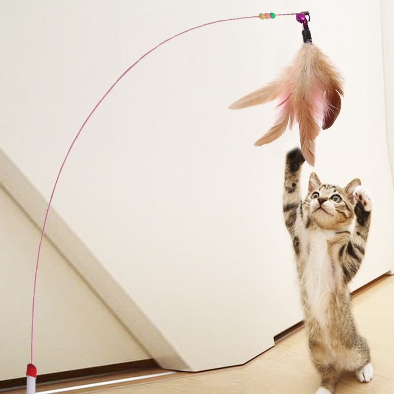 Cat Toy - Wire Rod with Bells and Feathers