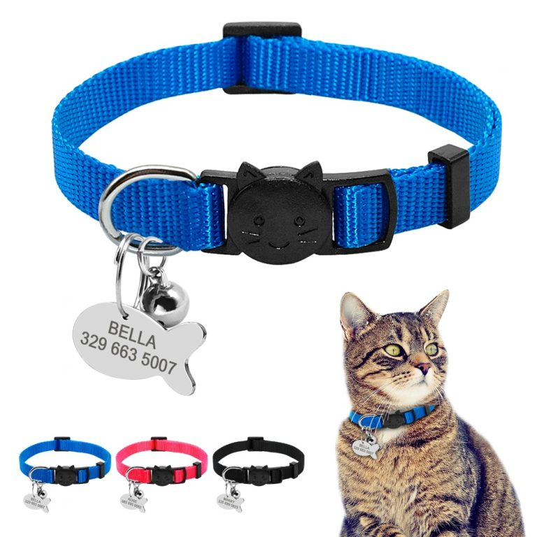 Safety Breakaway Cat Collars Quick Release Kitten Collar Personalized Custom Cats Collar Necklace with Bell for 1 / Shop Social Online Store