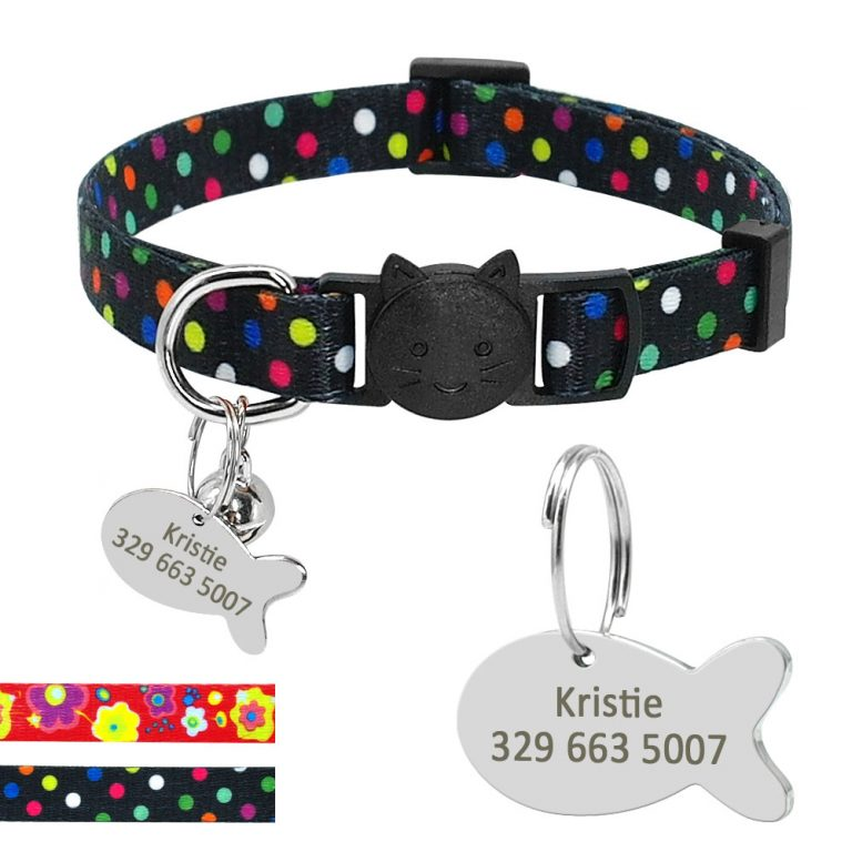 Safety Breakaway Cat Collars Quick Release Kitten Collar Personalized Custom Cats Collar Necklace with Bell for 3 / Shop Social Online Store