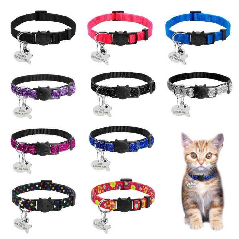 Safety Breakaway Cat Collars Quick Release Kitten Collar Personalized Custom Cats Collar Necklace with Bell for / Shop Social Online Store