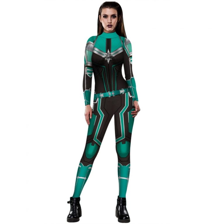 2019 New Captain Women Carol Danvers Cosplay Costumes Jumpsuit Catsuit Halloween Fancy Ball Dress 3 / Shop Social Online Store