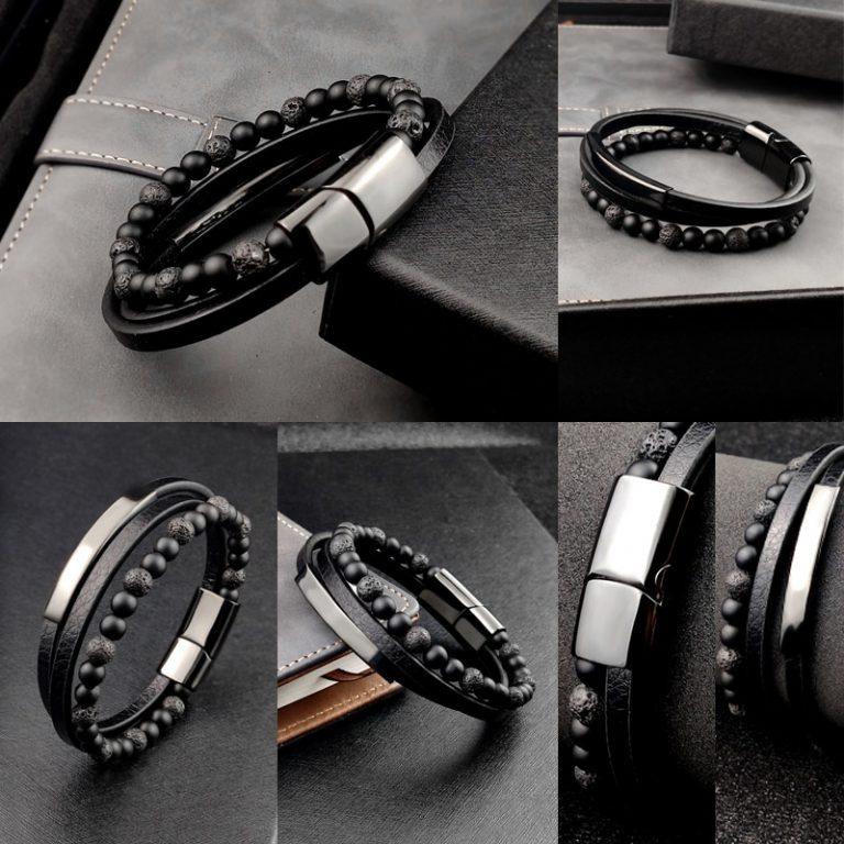 2020 Bohemian Charm Bracelet Bangle Leather Beaded Mens Chakra Tiger Eye Bracelet For Men Women Stainless 3 / Shop Social Online Store