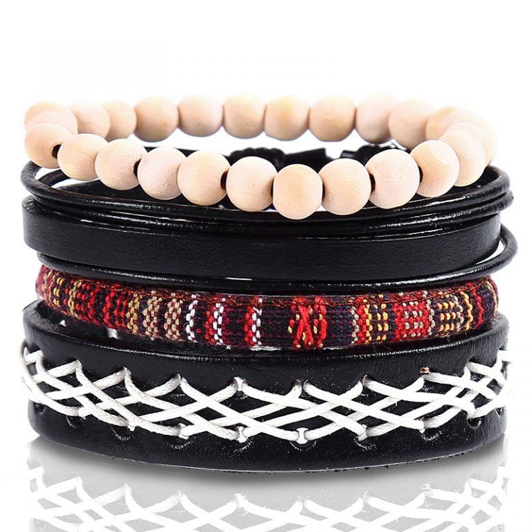 4pcs set Handmade Boho Gypsy Hippie Fashion Trendy Vintage Cuff Beads Leather Punk Charm Men Leather 2 / Shop Social Online Store