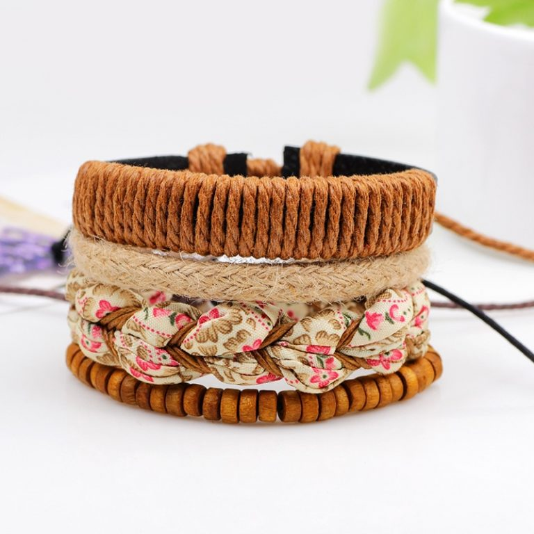 4pcs set Handmade Boho Gypsy Hippie Fashion Trendy Vintage Cuff Beads Leather Punk Charm Men Leather 4 / Shop Social Online Store