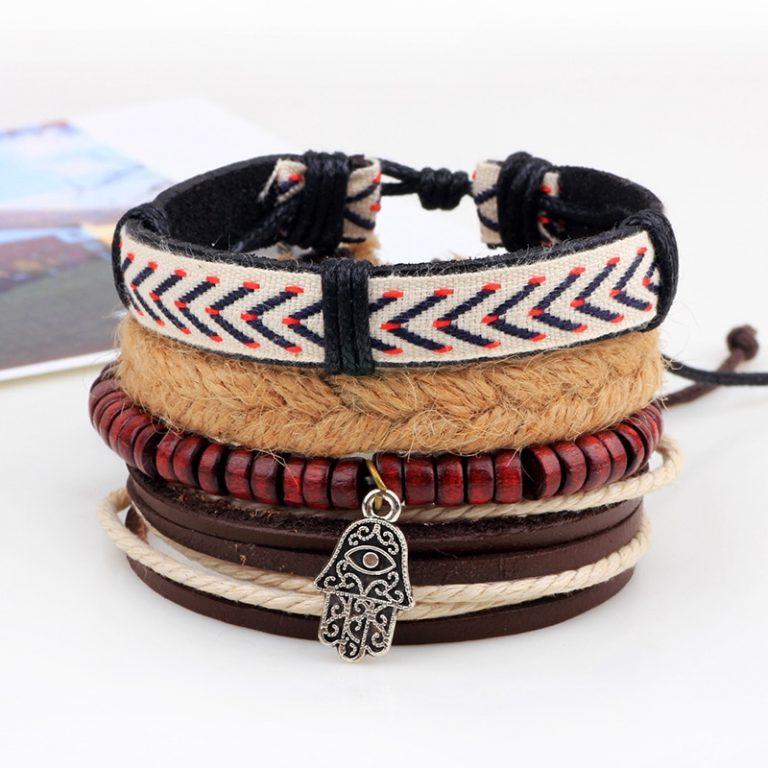 4pcs set Handmade Boho Gypsy Hippie Fashion Trendy Vintage Cuff Beads Leather Punk Charm Men Leather 5 / Shop Social Online Store
