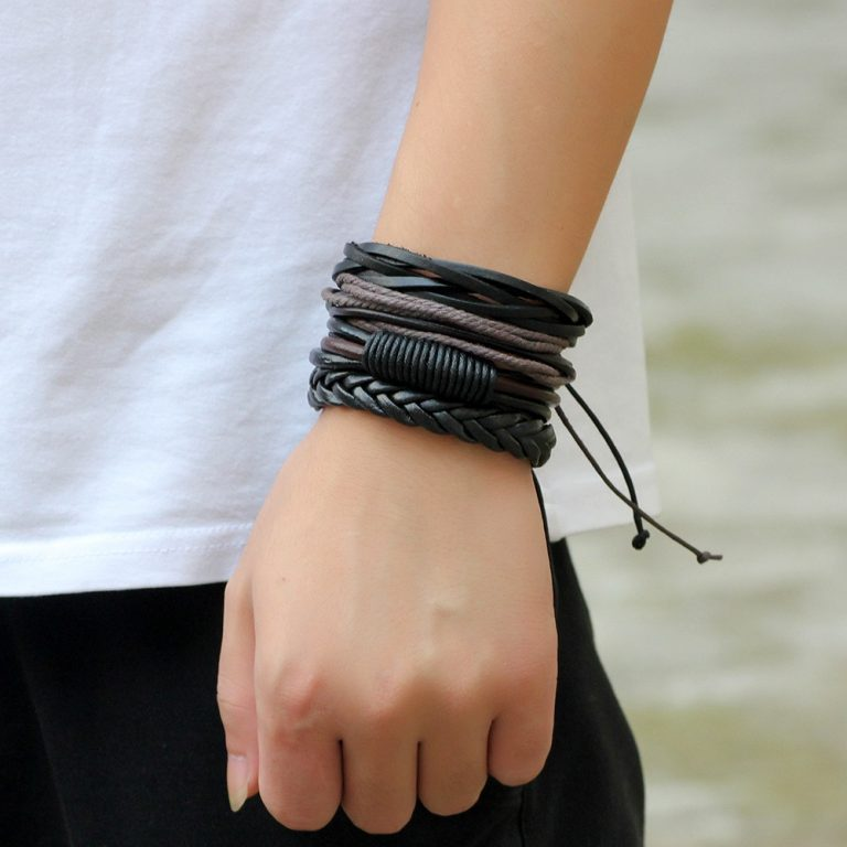 4pcs set Handmade Boho Gypsy Hippie Fashion Trendy Vintage Cuff Beads Leather Punk Charm Men Leather / Shop Social Online Store