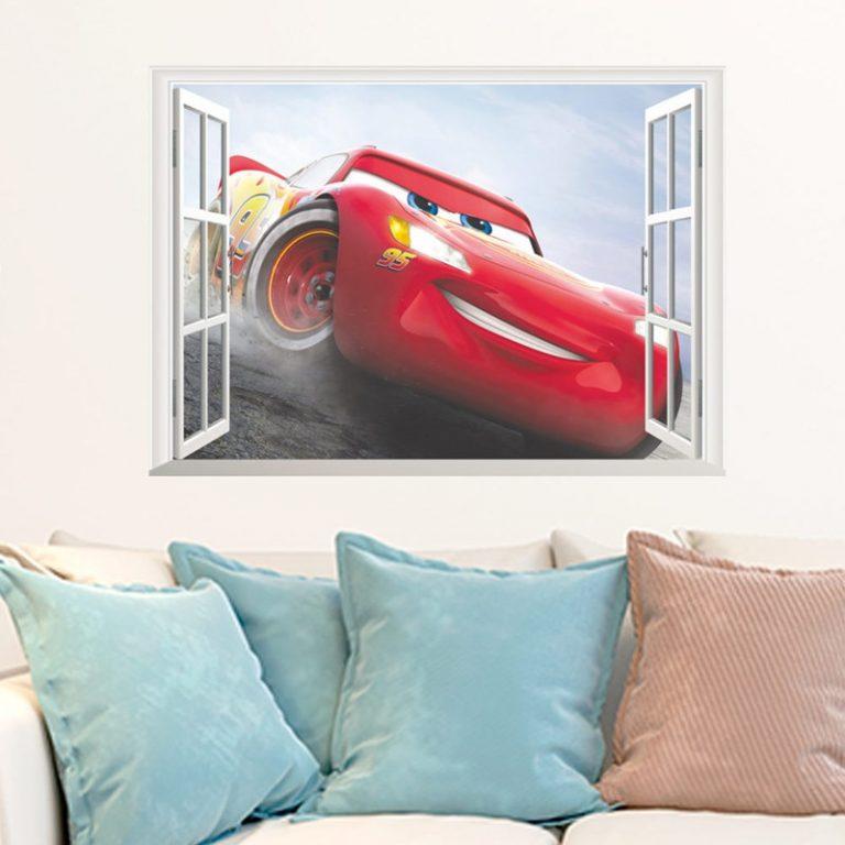 Disney Toy Stickers 3D Disney Cars Lightning Mcqueen Wall Stickers Window Home Decor Living Room Cartoon 1 / Shop Social Online Store