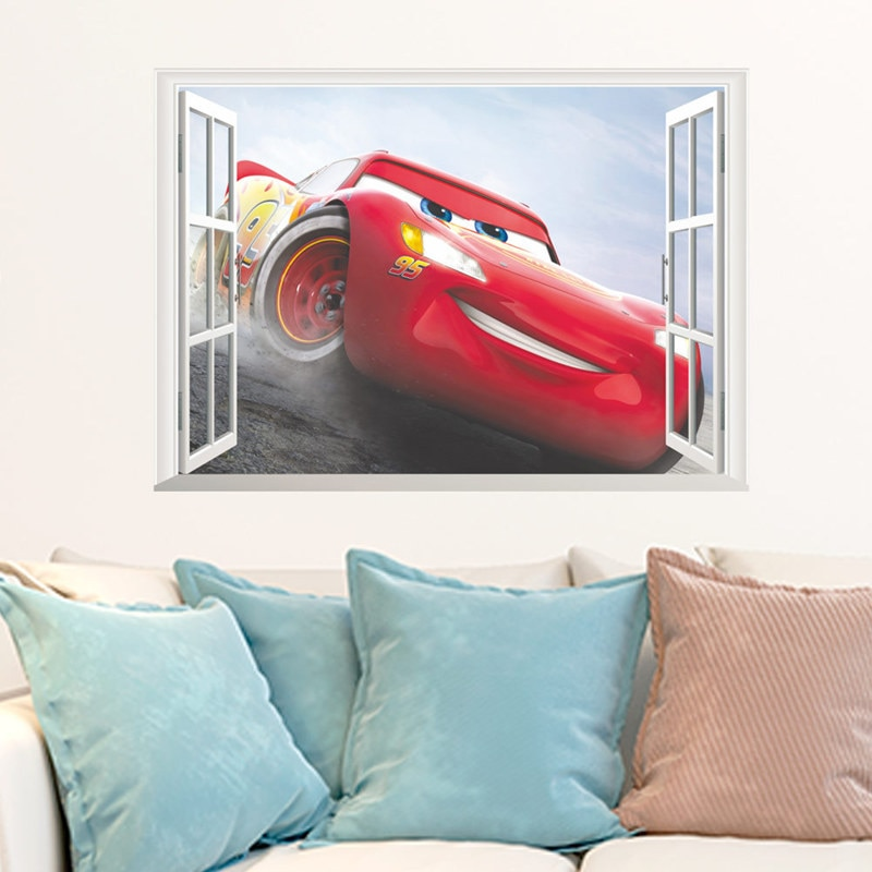 Disney Toy Stickers 3D Disney Cars Lightning Mcqueen Wall Stickers Window Home Decor Living Room Cartoon 1 / Shop Social Online Store