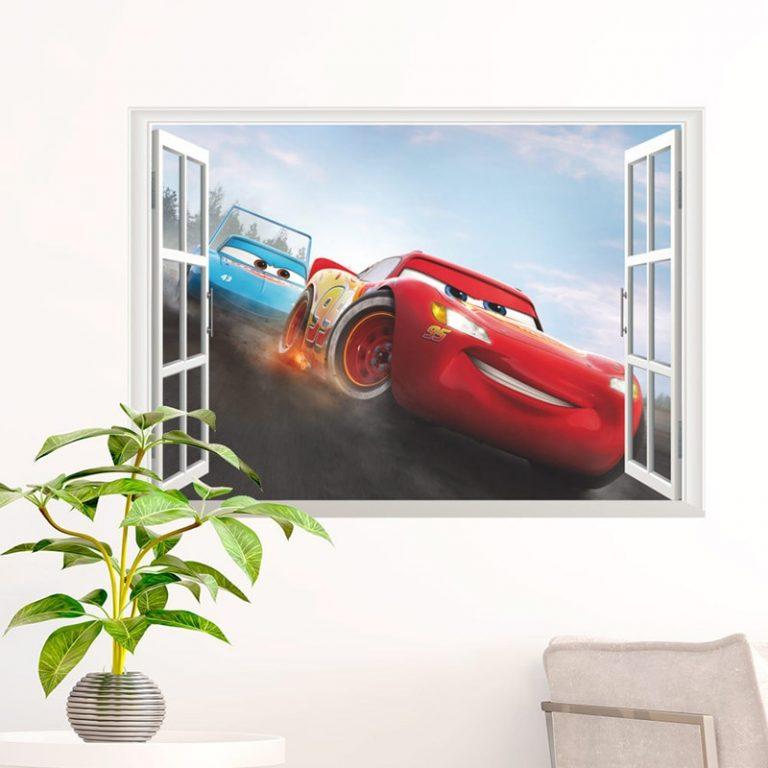 Disney Toy Stickers 3D Disney Cars Lightning Mcqueen Wall Stickers Window Home Decor Living Room Cartoon 2 / Shop Social Online Store