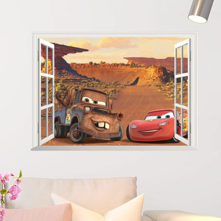 Disney Toy Stickers 3D Disney Cars Lightning Mcqueen Wall Stickers Window Home Decor Living Room Cartoon 4 / Shop Social Online Store