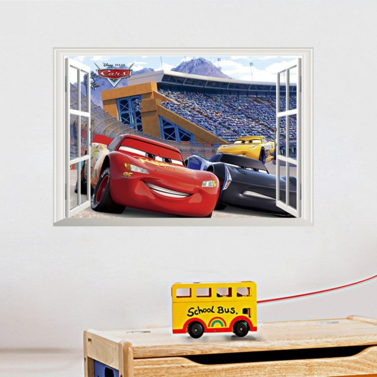 Disney Toy Stickers 3D Disney Cars Lightning Mcqueen Wall Stickers Window Home Decor Living Room Cartoon 5 / Shop Social Online Store