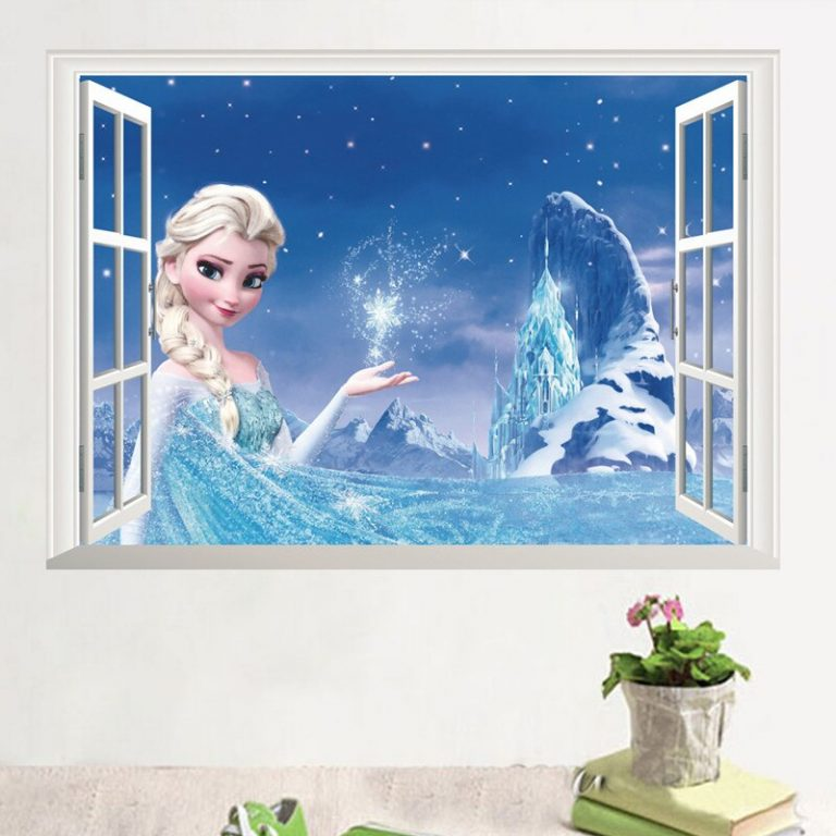 Disney Toy Stickers Elsa Anna Frozen Princess Wall Stickers For Girls Room Home Decoration Anime Mural 4 / Shop Social Online Store