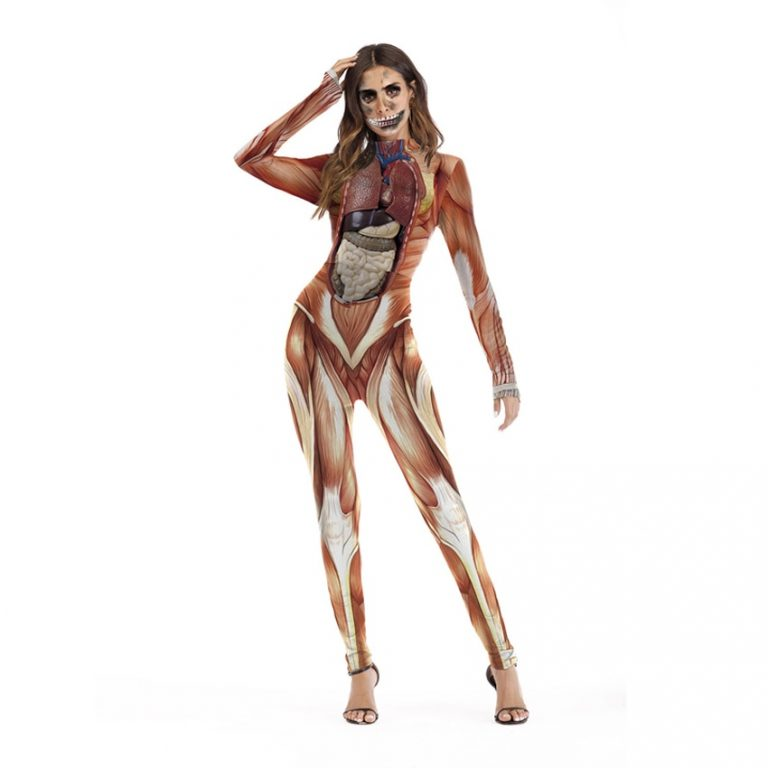 One Piece Female Skull Skeleton Costume Halloween Party Wear Scary Woman Jumpsuit Skinny Zombie Vampire Cosplay 2 / Shop Social Online Store