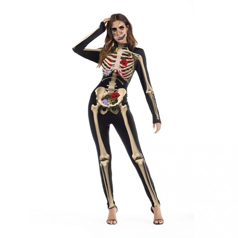 One Piece Female Skull Skeleton Costume Halloween Party Wear Scary Woman Jumpsuit Skinny Zombie Vampire Cosplay 4 / Shop Social Online Store