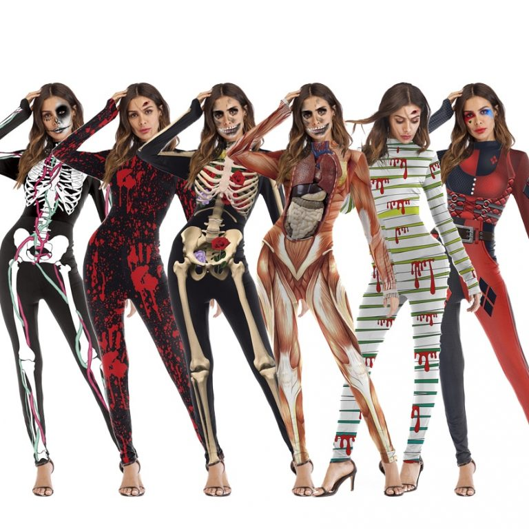 One Piece Female Skull Skeleton Costume Halloween Party Wear Scary Woman Jumpsuit Skinny Zombie Vampire Cosplay / Shop Social Online Store