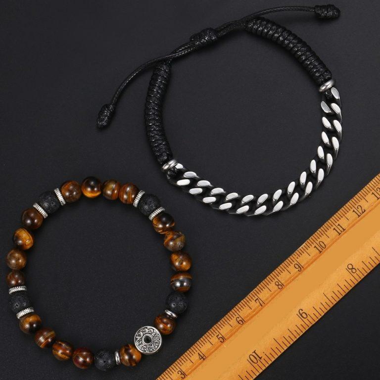 Unique Natural Tiger Eye Stone Men s Beaded Bracelet Stainless Steel Cuban Link Chain Bracelets Male 1 / Shop Social Online Store