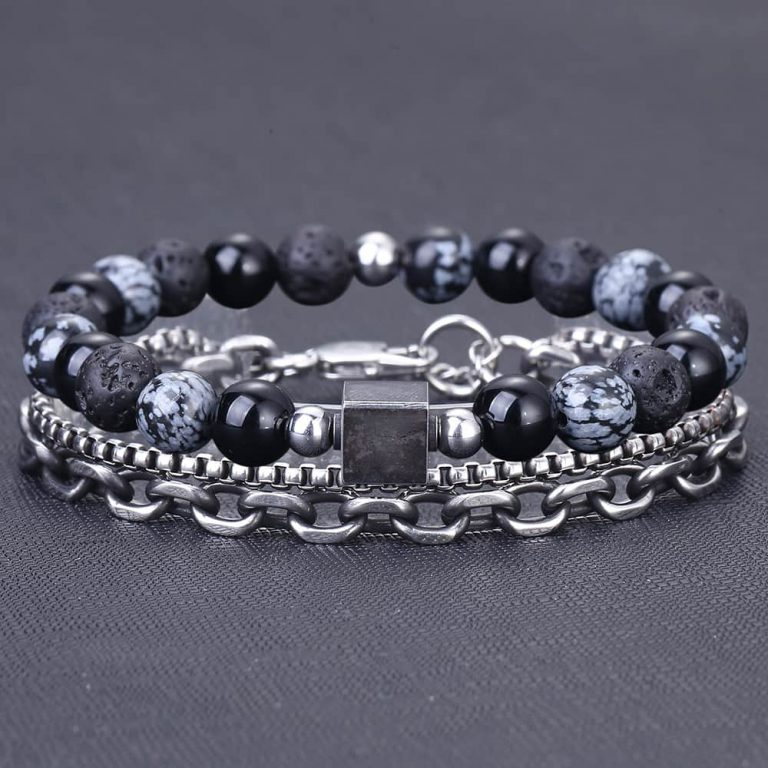 Unique Natural Tiger Eye Stone Men s Beaded Bracelet Stainless Steel Cuban Link Chain Bracelets Male 4 / Shop Social Online Store