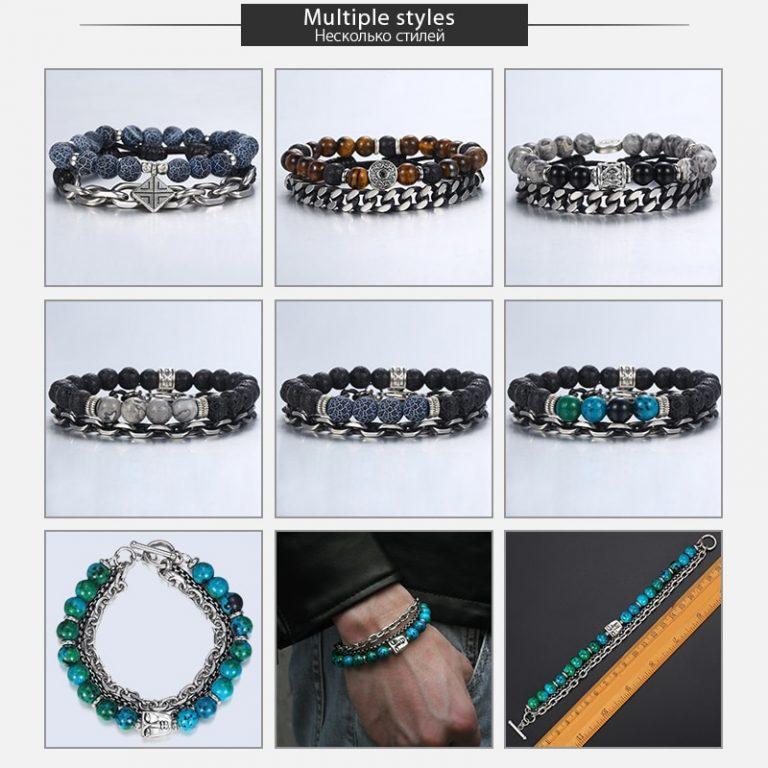 Unique Natural Tiger Eye Stone Men s Beaded Bracelet Stainless Steel Cuban Link Chain Bracelets Male 5 / Shop Social Online Store