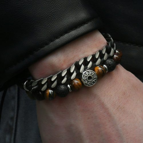 Men's Beaded Tiger Eye Stone Bracelet