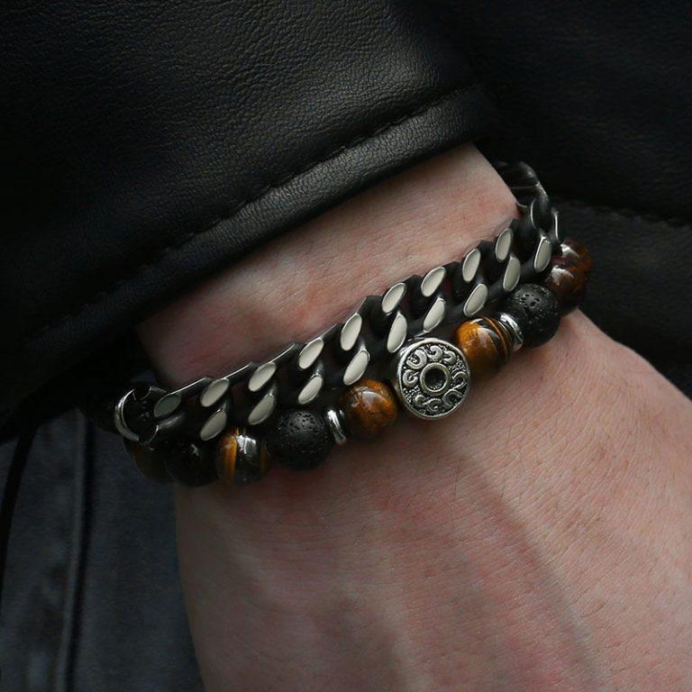 Unique Natural Tiger Eye Stone Men s Beaded Bracelet Stainless Steel Cuban Link Chain Bracelets Male / Shop Social Online Store