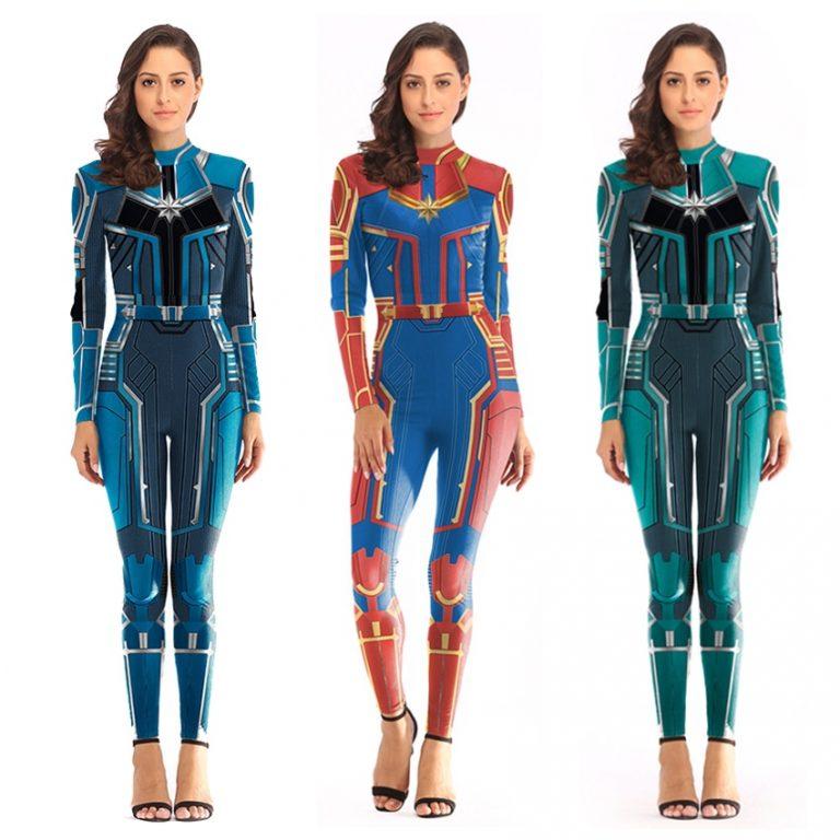women Spiderman Costume Captain Marvel Costumes Halloween Costume for Adult Carol Danvers Captain America Suit 1 / Shop Social Online Store