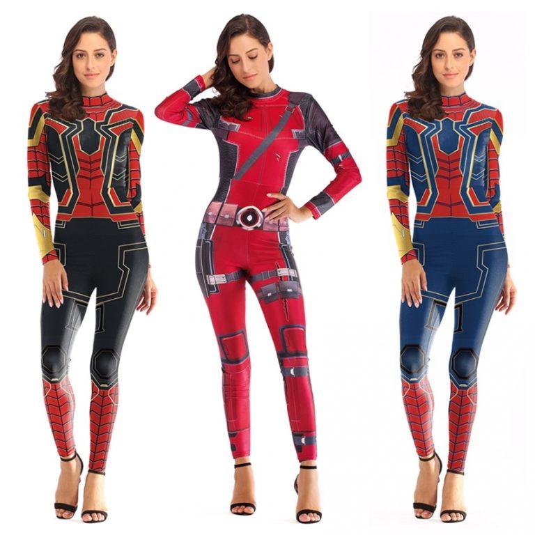 women Spiderman Costume Captain Marvel Costumes Halloween Costume for Adult Carol Danvers Captain America Suit 2 / Shop Social Online Store