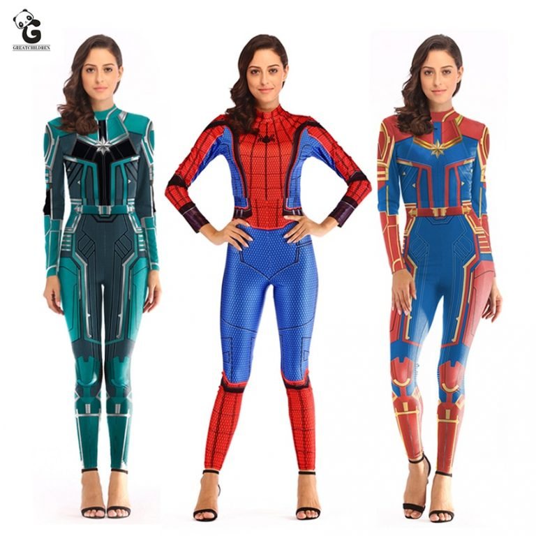women Spiderman Costume Captain Marvel Costumes Halloween Costume for Adult Carol Danvers Captain America Suit / Shop Social Online Store
