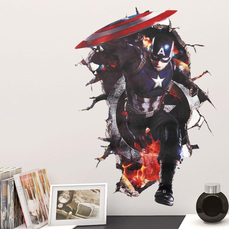 Disney Marvel Toy Sticker 3D PVC Avengers Captain America Iron Man Hulk Thor Spiderman Wall Sticker 3 / Shop Social Online Store