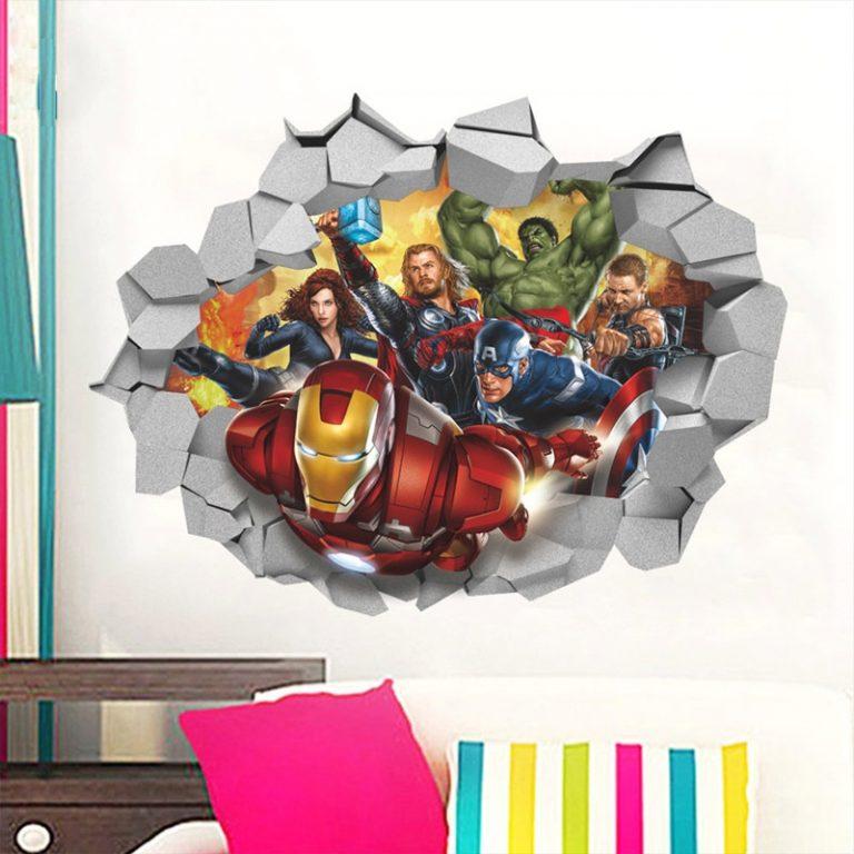 Disney Marvel Toy Sticker 3D PVC Avengers Captain America Iron Man Hulk Thor Spiderman Wall Sticker 5 / Shop Social Online Store