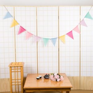 12Flags 4m Wedding Bunting Decor Cotton Fabric Cloth Banners Birthday Party Baby Shower Garland Tent Birthday / Shop Social Online Store