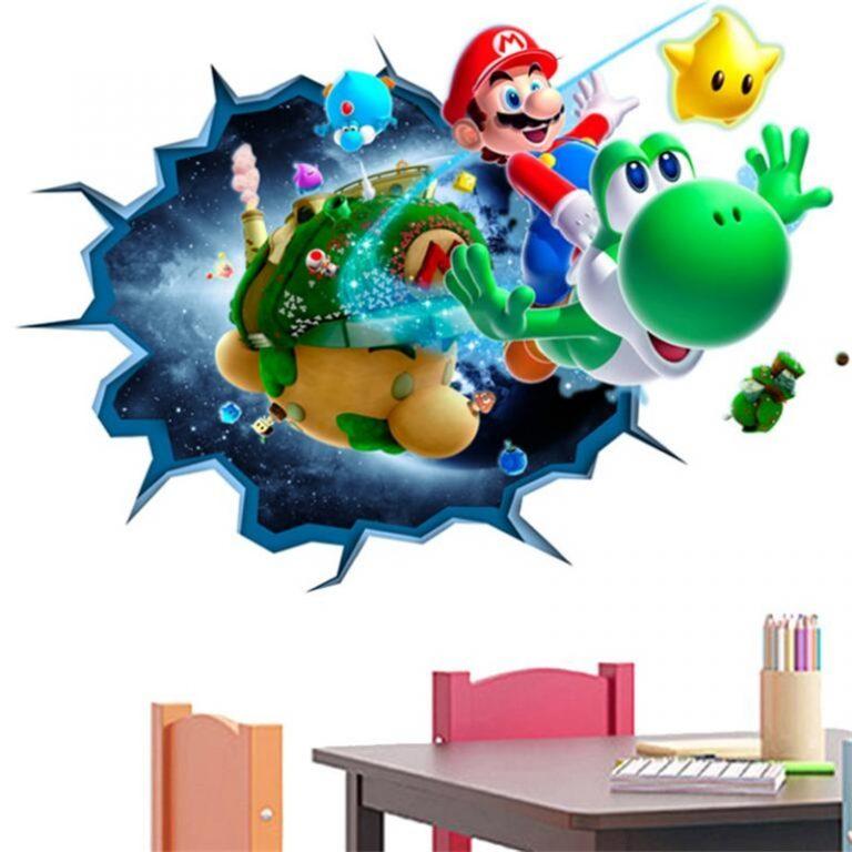 3D Cartoon Mario Bros Wall Sticker For Kids Rooms Decals Nursery Home Decor Vinyl Mural for 10 / Shop Social Online Store