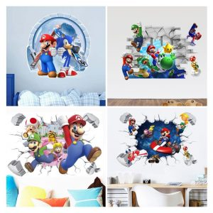 3D Cartoon Mario Bros Wall Sticker For Kids Rooms Decals Nursery Home Decor Vinyl Mural for 6 / Shop Social Online Store