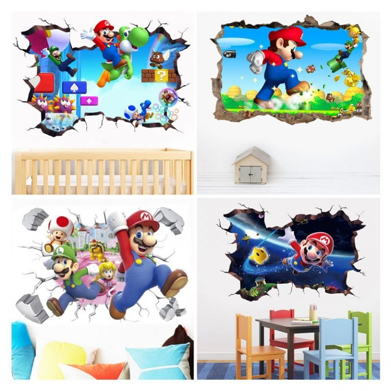 3D Cartoon Mario Bros Wall Sticker For Kids Rooms Decals Nursery Home Decor Vinyl Mural for / Shop Social Online Store