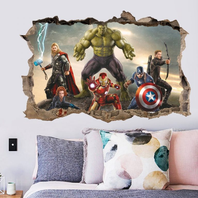 3D avengers wall stickers living room bedroom wall decoration Super hero movie poster wall stickers for 1 / Shop Social Online Store