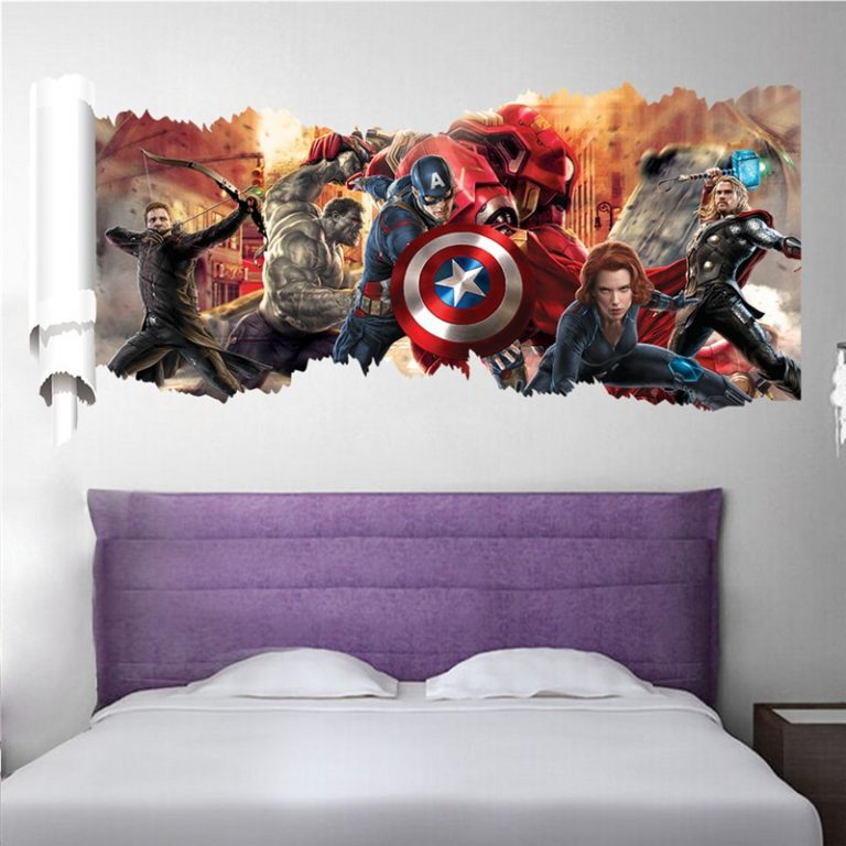 3D avengers wall stickers living room bedroom wall decoration Super hero movie poster wall stickers for 2 / Shop Social Online Store