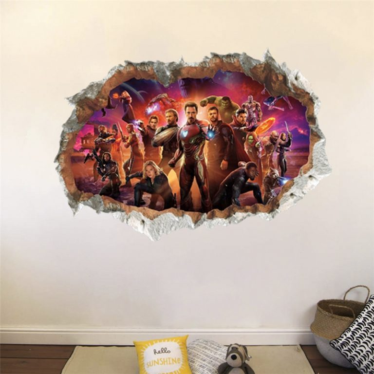 3D avengers wall stickers living room bedroom wall decoration Super hero movie poster wall stickers for 3 / Shop Social Online Store
