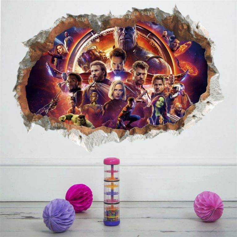 3D avengers wall stickers living room bedroom wall decoration Super hero movie poster wall stickers for 4 / Shop Social Online Store