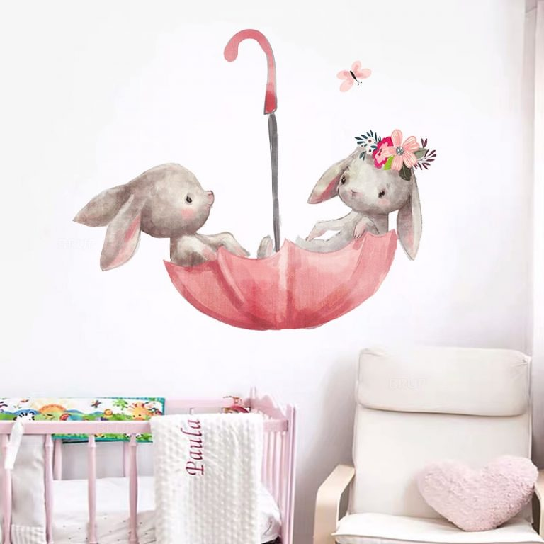 Baby Room Cute Ballet Bunny Wall Stickers for Kids Room Baby Nursery Decoration Cartoon Wall Decals 1 / Shop Social Online Store