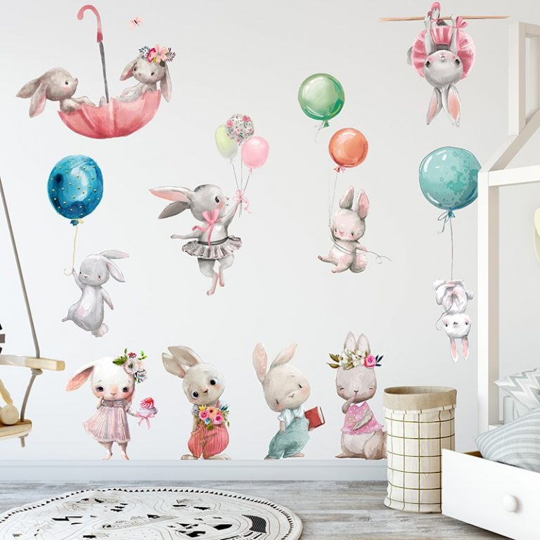Baby Room Cute Ballet Bunny Wall Stickers for Kids Room Baby Nursery Decoration Cartoon Wall Decals 3 / Shop Social Online Store