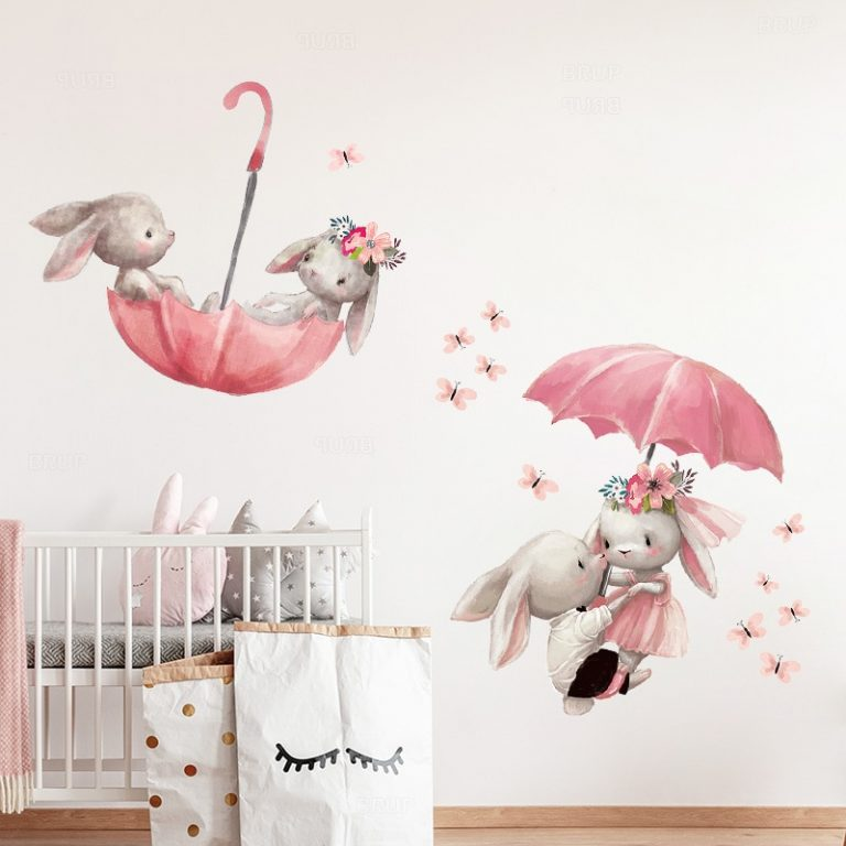 Baby Room Cute Ballet Bunny Wall Stickers for Kids Room Baby Nursery Decoration Cartoon Wall Decals 4 / Shop Social Online Store