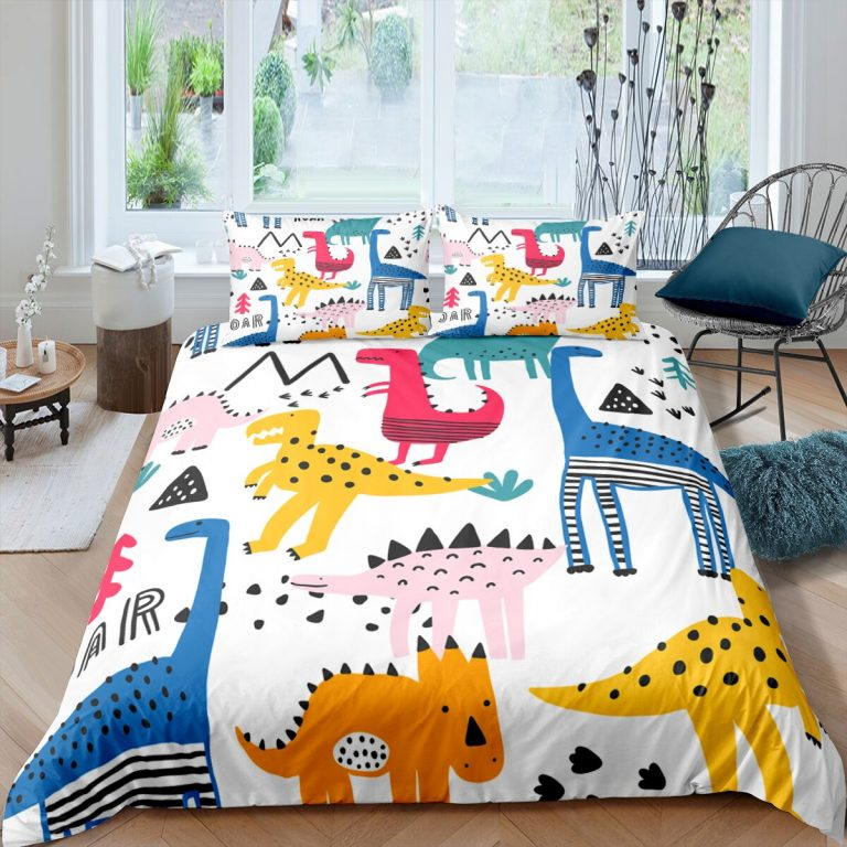 Bedding Set Duvet Cover Childish Dinosaur Cartoon Printed Bedroom Clothes for Kids With Pillowcase Double Single 2 / Shop Social Online Store