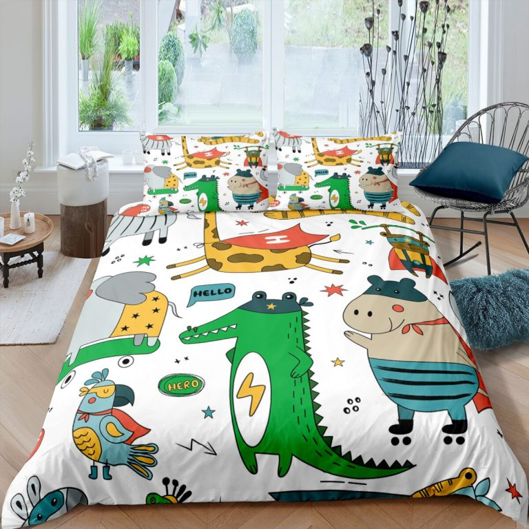 Bedding Set Duvet Cover Childish Dinosaur Cartoon Printed Bedroom Clothes for Kids With Pillowcase Double Single 3 / Shop Social Online Store